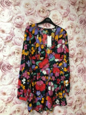 Boohoo Multicoloured Floral V Neck Mock Button Long Sleeve Playsuit Size 8