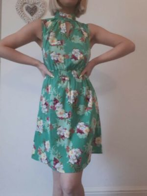 New Look Green Floral Cut Out Summer Mini Dress Size 8