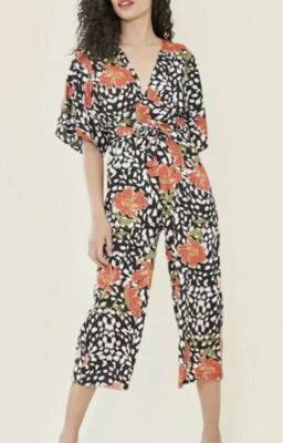 Black White Red Floral Frill Culotte Jumpsuit Kimono Sleeve Size 8