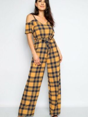 Mustard Blue Red Check Cami Cold Shoulder Palazzo Jumpsuit Size 6