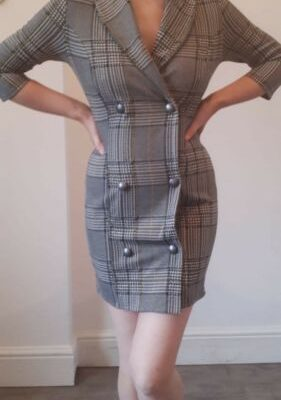 Black Grey Mustard Hounds Tooth Dog Tooth Collared Mini Dress Size 10