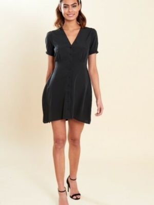 Black Button Front Mini Skater Dress With Shirred Sleeves Size 8