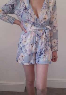 Light Blue Floral Wrap Long Sleeve Playsuit With Shoulder Pads Size 10
