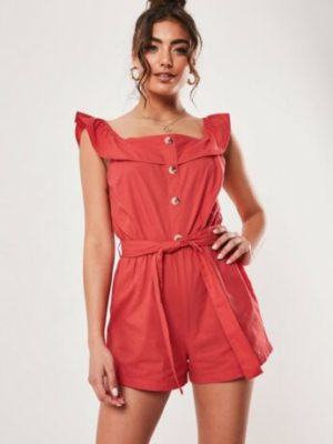 Red Linen Look Button Front Frill Tie Waist Playsuit Size 8