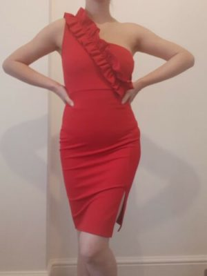 Quiz Red One Shoulder Frill Ruffle Detail Bodycon Mini Dress Size 10
