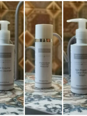 Morning cleanse and moisture set - vitamin boost moisturiser , skin fresh face wash and fruit enzyme cream cleanser